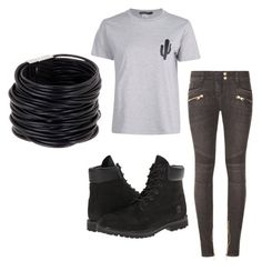 """Untitled #93"" by destinyaldridge on Polyvore featuring Balmain, Timberland and Saachi"