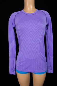 LULULEMON Run Swiftly Tech Long Sleeve Top 8 M Medium Purple Chevron Tee Yoga #Lululemon #ShirtsTops