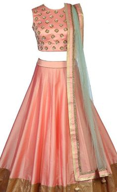 Peach silk lehenga with gold embroidered choli and contrast pale blue dupatta. The lehenga choli is a custom made garment which include the blouse(top), lehenga(skirt) and the dupatta (stole). Skirt and blouse are in silk and dupatta in soft net. It can be customised in any color
