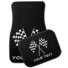 Checkered Flag Auto Racing Fan Personalized Car Mats  These custom floor mats feature checkered race flags with a black background and a white custom text. Great gift for a race car or motorcycle driver, mechanic team or auto racing fan.