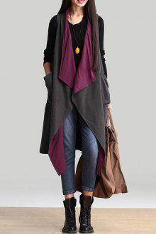 Double-Faced Turn Down Collar Long Waistcoat