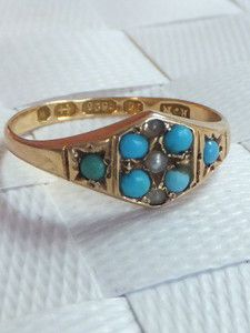 Fine Victorian Turquoise & seed Pearl 15k gold ring,1871 | eBay