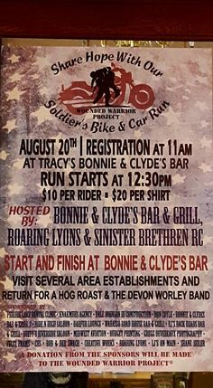 Tracy, MN - Aug. 20, 2016: Share Hope with Our Soldiers motorcycle run. A fundraising effort for Wounded Warrior Project.