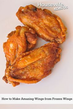 Housewife Eclectic: Get restaurant style chicken wings at home with this amazing wings from frozen recipe. Use the frozen wings from the grocery store and impress everyone! Baking Frozen Chicken, Frozen Chicken Wings, Air Fryer Chicken Wings, Baked Chicken Wings, Chicken Wing Recipes, Air Fryer Wings, Chicken Nuggets, Fried Chicken, Appetizer Recipes