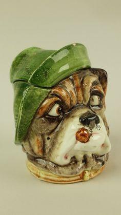 Majolica figural humidor tobacco jar of bulldog's head