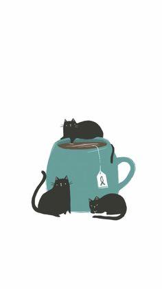 Cat Wallpaper, Cute Wallpaper Backgrounds, Cute Cartoon Wallpapers, Cute Illustration, Watercolor Illustration, Cat Drawing, Crazy Cats, Cat Art, Cute Cats