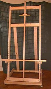 DIY - BUILD YOUR OWN easel that will hold a 7' tall painting, has a 4' wide shelf and stands about 7 1/2' tall total.