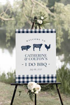 """I Do BBQ"" | Vintage | Gingham | Rustic | Summer or Spring Wedding | Navy Blue ""I Do BBQ"" Welcome Sign | Farm or Ranch Wedding | Country Blue Gingham, Navy Blue, I Do Bbq, Summer Bridal Showers, Rustic Blue, Farm Theme, Custom Posters, Vintage Signs, Baby Boy Shower"