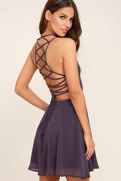 Lulus Exclusive! Reward your good behavior with a treat like the Good Deeds Dusty Purple Lace-Up Dress! Dreamy, lightweight Georgette sweeps across a princess-seamed bodice and strappy apron neckline, plus a lacing open back. Full skater skirt has a bit of elastic at back. Hidden back zipper.