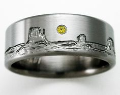 Monument Valley titanium ring with mountains, yellow diamond setting sun- looks like an old west painting