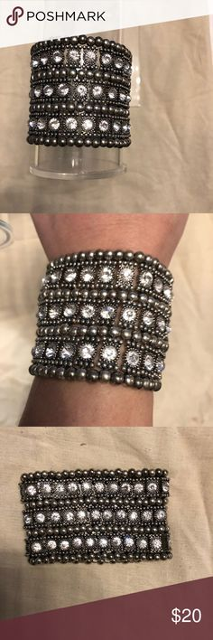 Fashionable cuff Black and diamond stylish cuff. Elastic fit so comfortable to wear. Jewelry Bracelets