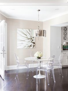 white dining table with ghost chairs - Google Search