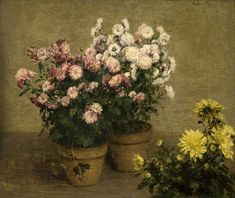 henri fantin-latour(1836–1904), chrysanthemums, 1874. oil on canvas, 55.2 x 64.8 cm. glasgow museums http://www.bbc.co.uk/arts/yourpaintings/paintings/chrysanthemums-83930