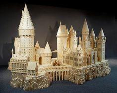 That's magic: Artist creates amazing matchstick model of Harry Potter's Hogwarts Minas Tirith, Illustrations Poster, Stick Art, Book Sculpture, Paper Sculptures, Lettering Styles, Assemblage, Harry Potter Hogwarts, Amazing Art