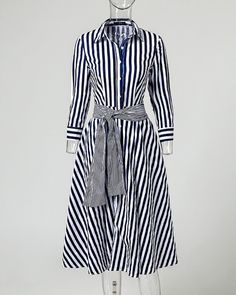 Shop Striped Long Sleeve Knot Waist Shirt Dress right now, get great deals at Chiquedoll Elegant Dresses, Casual Dresses, Fashion Dresses, Dresses For Work, 1 Piece Dress, Black Dress Outfits, Trend Fashion, Striped Shirt Dress, Long Tops