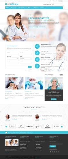 BT Medical is a responsive medical template for Joomla and with clean design and fully functions. This modern template has everything you need for a healthcare site on Inspirationde Hospital Website, Intranet Design, Healthcare Website, Modern Web Design, Clean Design, Design Web, Medical Websites, Hospital Doctor, Joomla Templates