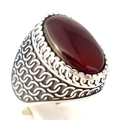 925 Sterling Silver Men's Ring with Excellent Dark Red Agate Middle Eastern Aqeeq
