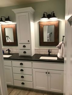 bathroom makeover Great bathroom wall cabinets mahogany just on homesaholic home design Bathroom Vanity Designs, Modern Bathroom, Small Bathroom, Bathroom Ideas, Attic Bathroom, Minimalist Bathroom, Bathroom Vanities, Mirrors For Bathrooms, Bathroom Double Vanity