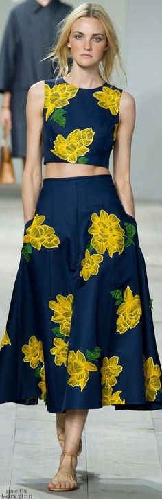 Michael Kors Spring 2015 RTW  Cool-colored background and warm-colored print.