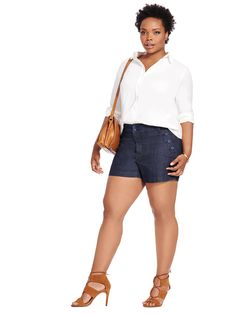 Buttoned Pocket Denim Short by @melissaSeven7 Available in sizes 10/12 and 14W-28W
