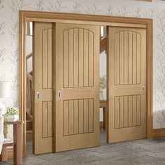 Thruslide Sussex Oak 3 Door Wardrobe and Frame Kit - Lining Effect Both Sides - Lifestyle Image. Fitted Wardrobe Doors, Sliding Wardrobe Doors, Wardrobe Storage, Sliding Doors, Closed Doors, Door Linings, Track Door, Inside Doors, Oak Doors