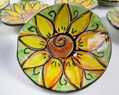 Small Ceramic Dish Pottery Ring Holder Yellow Sunflower on Lime Green Majolica
