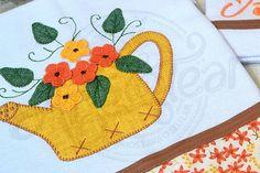 Kit de cozinha bordado patchwork - Bule amarelo