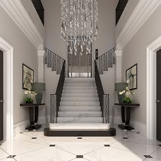 The grand entryway of the new luxury development were designing features classic black and white marble flooring a double staircase bespoke chandelier and an antique mirror elevator to take residents to the penthouse. Our designers will furnish the space Grand Entryway, Modern Entryway, Entryway Decor, Entryway Lighting, Bedroom Lighting, Home Stairs Design, Interior Stairs, Dream Home Design, Hall Interior