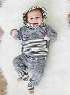 Dark Gray Hoodie With Gray Stripes – Lulu and Roo