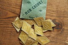 20 Antique punched paper initial monogram GI / IG by Yebisu on Etsy