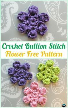 Crochet Bullion Stitch Flower Free Pattern - #Crochet; Bullion Stitch Free Patterns