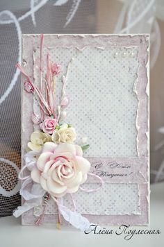 handmade card ... shabby chic ... posy montage one distressed paper panels ... soft pinks ...