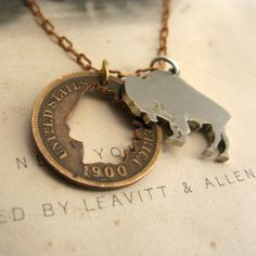 American West Cut Coin Necklace with Buffalo Nickel and Indian Head Penny