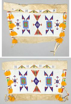 PAIR OF SIOUX BEADED HIDE TIPI BAGS c. 1900 Widths: 22 inches each http://fineart.ha.com/itm/american-indian-art/a-pair-of-sioux-beaded-hide-tipi-bags-c-1900/a/5105-50155.s