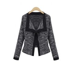 Women's Fashion Contrast Trim Open Front Long Sleeve Short Blazer (225 NOK) ❤ liked on Polyvore featuring outerwear, jackets, blazers, long sleeve jacket, open front jacket, long sleeve blazer, blazer jacket and short blazer jackets