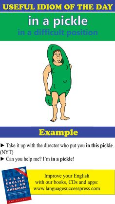Useful idiom for - in a pickle - in a difficult position. We hope you don't end up in a pickle any time soon, but if you do, this could be a useful expression! Advanced English Vocabulary, English Vocabulary Words, Learn English Words, Grammar And Vocabulary, English Phrases, English Idioms, English Study, English Lessons, English Grammar