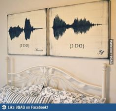 """Mounted individual waveforms of each of you saying """"I do."""" I AM A HUGE SPEECH NERD AND I LOVE IT."""