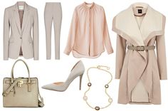 """Workplace chic, inspired by Kerry Washington's """"Scandal"""" character Olivia Pope - Love the soft grey and pink"""