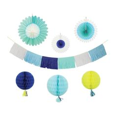 Blue Paper Party Decorating Kit