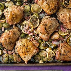 Roast Chicken Thighs & Brussels Sprouts with Pancetta.