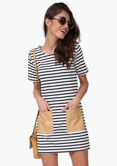 Vanessa Stripe Dress in Black/white   Necessary Clothing