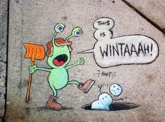 street art by David Zinn (December 9, 2010)