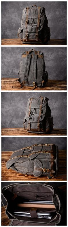Handcrafted Army Green Waxed Canvas Leather Travel Backpack School Backpack Cool Hiking Rucksack MT09