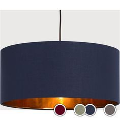 Oro Pendant Drum Lamp Shade, Navy and Copper Copper Living Room, Copper Bedroom, Navy Living Rooms, Blue Living Room Decor, Living Room White, Blue Bedroom, Living Room Colors, Living Room Grey, Bedroom Decor