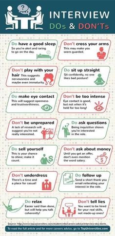 Interview do s and don ts. This about sums it up. Take these notes -- if you are going to ever go into an interview, reminding yourself of these things - it will surely help. how to prepare job interview Interview Skills, Job Interview Questions, Job Interview Tips, Interview Preparation, Job Interviews, Interview Process, Job Resume, Resume Tips, Resume Examples