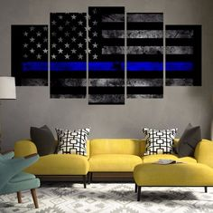 Thin Blue Line 5 Piece Canvas Set