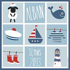 Affiche bébé à personnaliser. Poster marin, cadeau de naissance bébé original