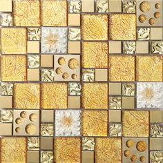 gold crystal glass mosaic tile stainless steel backsplash metal wall backsplashes SBLT807