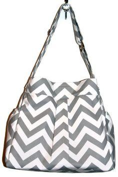 Girl or Boy Diaper Bag in Grey and White CHEVRON par LanaRaePurses, $80,00