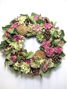 Woodland Rose Dried Floral Wreath with Hydrangea by summersweetboutique on Etsy